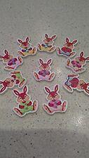 10 Misti Bottoni Coniglio Colorati Legno 28 mm