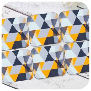 Scandi Geometric Coasters, Yellow & Grey Home Decor, Geometric Scandi Decor,