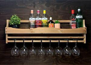 Wine Rack Gin Shelf Rustic Bottle & 8 Glass Holder Home or Garden Bar (8GWO)EL