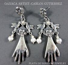 "oral/Pearl~""El Manos""~925 Earrings Oaxaca Artist~Carlos Gutierrez~Angelic~Dove/Fl"