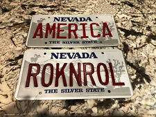 (2) NEVADA VANITY LICENSE PLATE AMERICA And ROCKNROLL DISPLAY IN SHOP OR MANCAVE