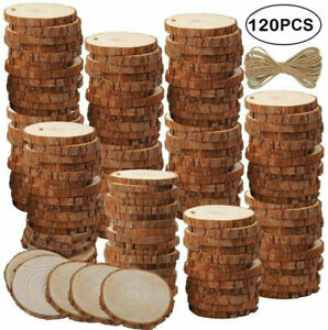 60/120Pcs Wood Slices Round Discs Tree Bark Log Wooden Circles 5-6 CM DIY Craft
