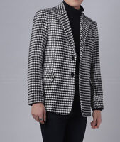 Men's Houndstooth Suit Blazer Formal Checkered Tuxedos Formal Prom Party Coat