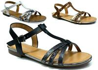 NEW SUMMER BEACH & POOL SIDE T-BAR STRAP BUCKLE FLAT LADIES'S SANDAL UK SIZE 3-8