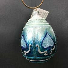 Slavic Treasures Winter Egg Ornament 99-130-A Hand Blown Made in Poland