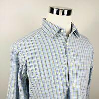 David Donahue Mens 17 34/35 Dress Shirt Blue Green Plaid 100% Cotton Regular Fit