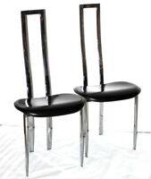 A Pair of  Chrome & Faux Leather composite Modern Dining Chairs  [PL4271A]