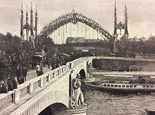 Exposition Universelle Paris 1889 la passerelle du carrefour de l'Alma estampe