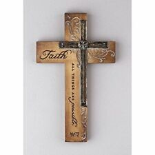 NEW Resin Religious Wall Cross Decor Faith  All Things FREE SHIPPING