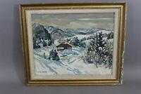 ''Chalets en montagne'' Huile sur toile signée Can. PETIT
