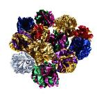 12pcs Colorful Mylar Ball Cat Pet Crinkle Sound Shiny Ring Paper Kitten Play Toy