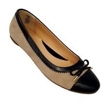 Lands End 7 B tan black bow ballet flats womens ladies 393349
