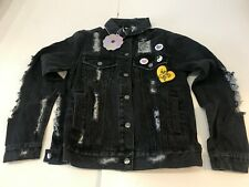 DAISY STREET Distressed Boyfriend Denim Jacket in Black (FS38)