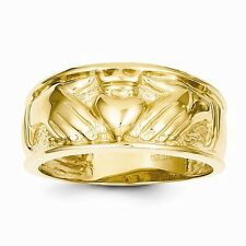 14K YELLOW GOLD MEN'S CLADDAGH CELTIC DESIGN BAND RING  6.4 GRAMS  SIZE 10