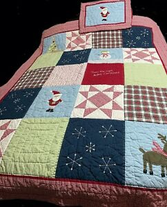 Pottery Barn Kids CHRISTMAS Patchwork QUILT + ST SHAM Santa Snowman Holiday Bed