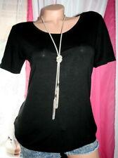 MILANO ITALY Design Sommer Tshirt Damen Bluse Schwarz Viscose Stretch NEU 40-42