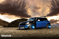15X8.5 +17 Klutch KM16 4x100 Fusion Blue Rims Fits Integra Dc2 Mini Cooper S Jcw