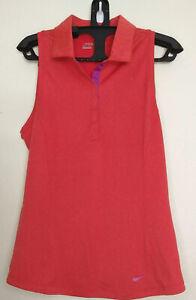 Nike Golf Women's Polo Size M Dri-Fit Orange Violet