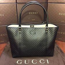 NEW Gucci Black Leather Microguccissima Medium Tote Handbag Purse