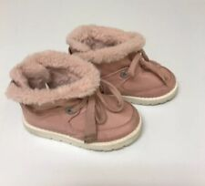Zara Baby Girl Shoes Boots Laces Dusty Pink Size 5.5 Faux Fur EU 21