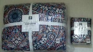Pottery Barn Teen Majestic Medallion Twin Comforter Sham Floral Blue Multi NIP