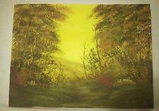 Painting Art Deep forest autumn on canvas Medium 9x12in- Signed