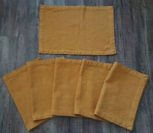 Pier 1 Imports Woven Mustard Yellow Placemats Set Of 6