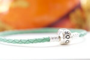 Authentic Pandora Woven Green  Braided Leather Bracelet  Silver Barrel Retired