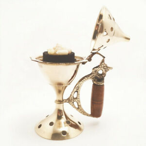 Brass Incense Cone Resin Burner with Wooden Handle and Lid 11cm