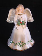 Lenox Angel Figurine ~ HOLIDAY HOLY NIGHT ~ Holly & Berries ~ Candle ~ EUC