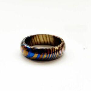 Titanium MokuTi Timascus Round Ring Finger Necklace EDC Pendant Men's Jewelry