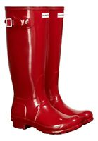 WAREHOUSE SALE New Ladies Gloss Hunter Wellies Wellington Boots Red Size UK 6