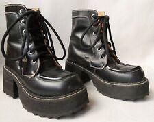 Vintage 90s John Fluevog Platform Ankle Boots F Sole Black Leather US 6.5 Laces