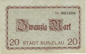 NOTGELD GERMANY  BUNZLAU --  11 NOVEMBER 1918 - 20 MARK //93.01