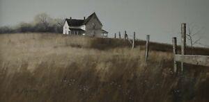 Painting Linda Nyman 1946 Landscape USA White Farmhouse