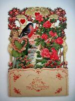 Large Victorian Vintage Die Cut Valentine w/ Girl & Redbreast Bird - Needs TLC*