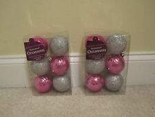 12 shatterproof ornaments plastic pink silver glitter balls new in package