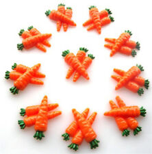 10 CARROTS RESIN FLATBACK KITCH CABOCHONS KAWAII DECODEN - FAST FREE SHIPPING