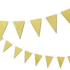 Liso con Purpurina Dorado Brillante Bandera Banderines Fiesta 15 Banderas 10ft
