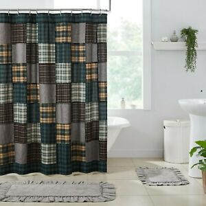 Pine Grove Green Patchwork Rustic Country Cottage Farmhouse Shower Curtain