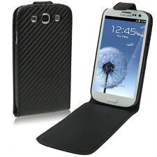 Flipcase Case für Samsung Galaxy S3 GT I9300 Carbon Schutz Tasche Black