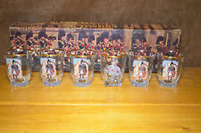 VINTAGE Scottish Piper shot glasses x 5 + 1 mismatched Spanish Lady Boxed