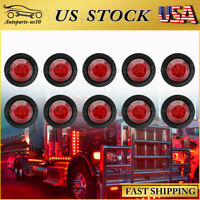 "10x 3/4"" Round Red LED Clearance Bullet Marker Lights for Truck RV Trailer Lamps"