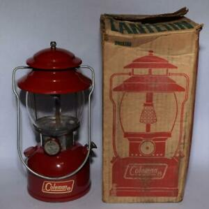 1970 Coleman Model 200A Red Camp Lantern w Box & Papers - Single Mantel - Nice!