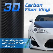 "3D Premium Grade Black Carbon Fiber Vinyl Glossy Sheet Decal - 4""x8"" Pair"