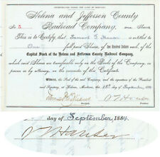 Rare Montana Railroad Stock Issued to and Signed by Samuel Hauser