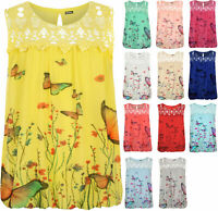 Plus Womens Crochet Butterfly Print Lined Sleeveless Ladies Lace Vest Top
