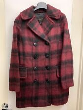 Coach Plaid Long Peacoat Dark Cranberry NWT Size XS ($675 Retail) New