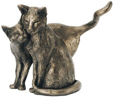'Making Friends' 2 Loving Cats Bronze Sculpture Frith Cats Paul Jenkins 15cm