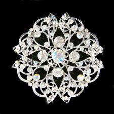 Mandala made with Swarovski Crystal Round Flower Floral Bouquet Sash Pin Brooch